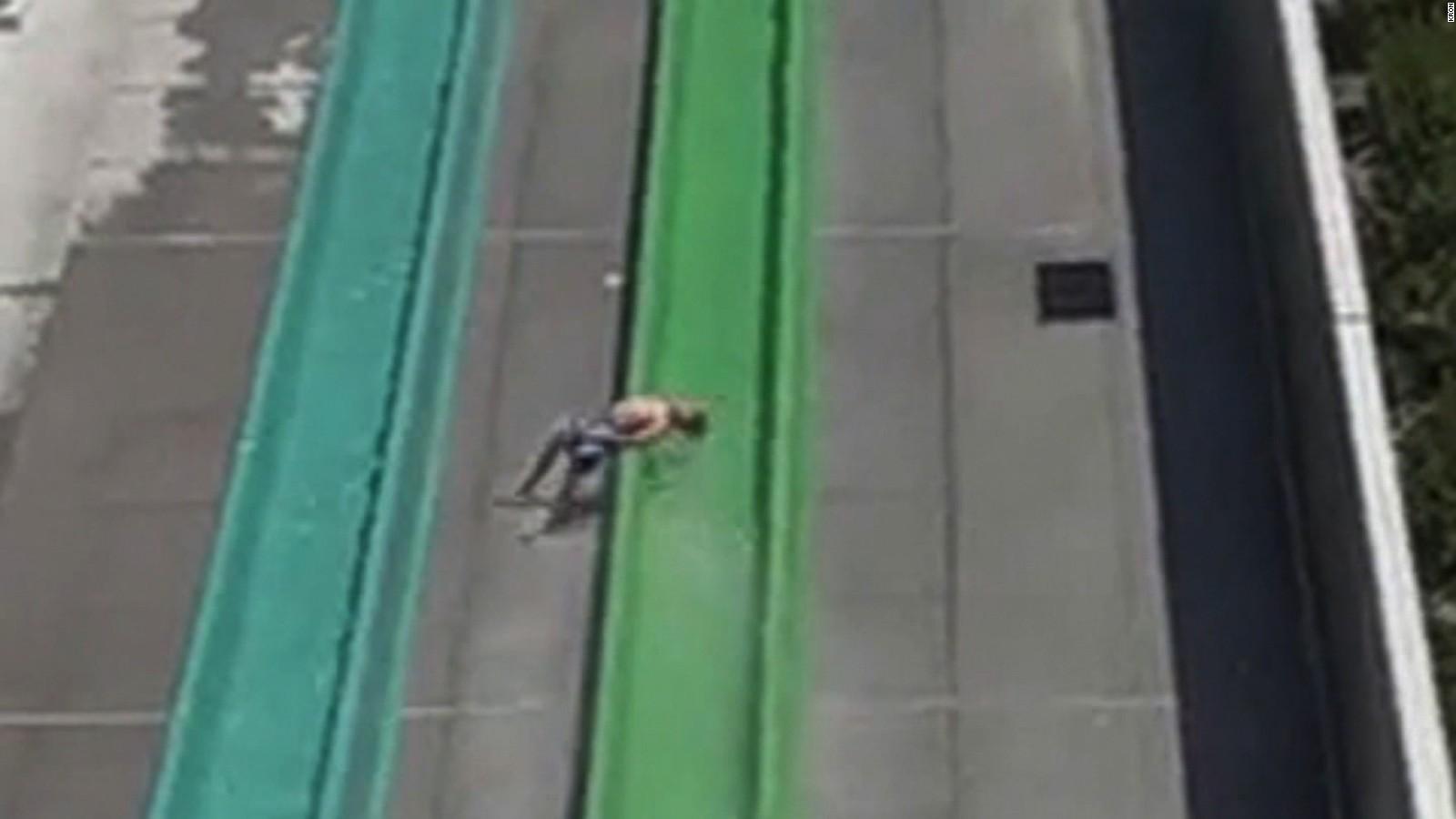 video shows moment boy falls off water slide cnn video