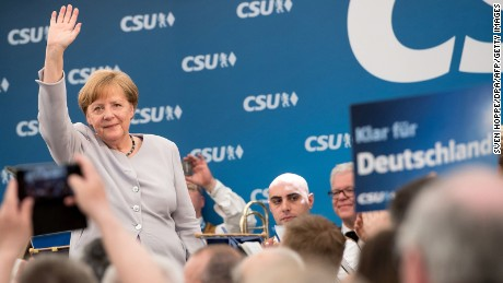 German Chancellor Angela Merkel waves after delivering a speech during a joint campaigning event of the Christian Democratic Union (CDU) and the Christion Social Union (CSU) in Munich, southern Germany, on May 27, 2017.