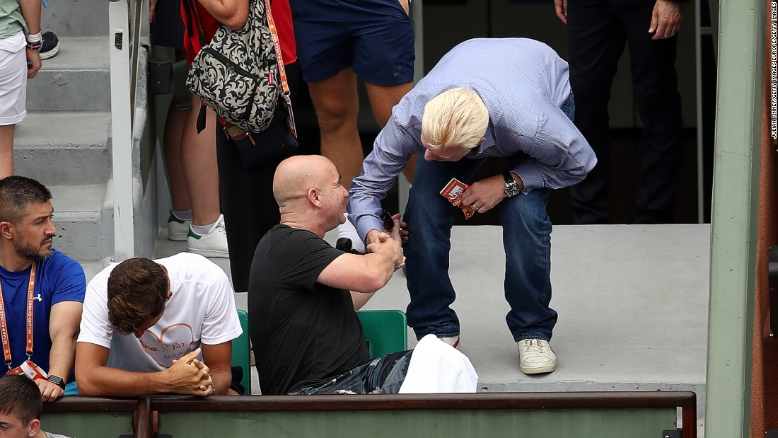"The Serb has a new so-called ""super coach"" at the helm in eight-time grand slam champion Andre Agassi, but that didn't stop former coach Boris Becker turning up in the player's box during the third set."