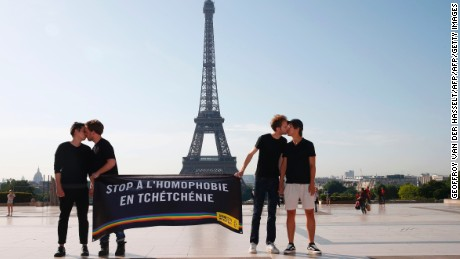 Gay rights activists protest against persecution of LGBT people in Chechnya in Paris on Monday.