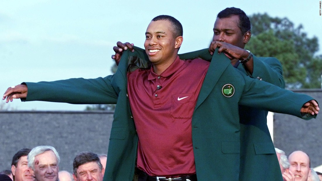 "Woods' victory in the 2001 Masters meant he held all four of golf's major titles at the same time, dubbed the ""Tiger Slam."""