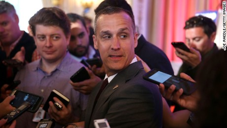 Corey Lewandowski campaign manager for Republican presidential candidate Donald Trump speaks with the media before former presidential candidate Ben Carson gives his endorsement to Trump at the Mar-A-Lago Club on March 11, 2016 in Palm Beach, Florida. (Photo by Joe Raedle/Getty Images)