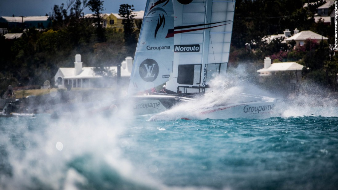 "<strong>Groupama Team France: </strong>""A windy day on the Great Sound, Bermuda as training gets really intense two weeks before the America's Cup qualifiers begin""<strong> -- </strong>Eloi Stichelbaut.<strong> </strong>"