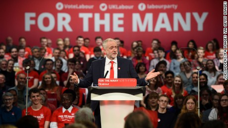 Labour leader Jeremy Corbyn addresses supporters during a campaign event in Birmingham in May.