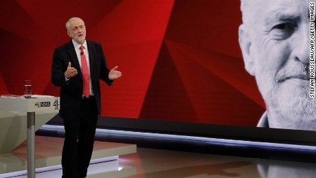 "Corbyn answers questions from a studio audience during a televised debate, ""May v Corbyn Live: The Battle for Number 10"" in London this week."