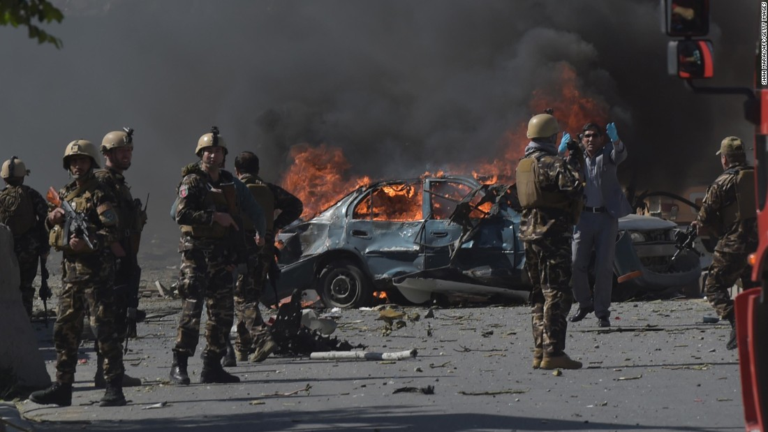 Afghan security forces patrol the site of a deadly suicide bomb attack in Kabul, Afghanistan, on Wednesday, May 31. The blast struck near the German Embassy, according to Afghan officials.