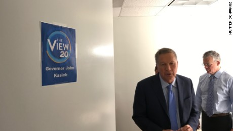 "Ohio Gov. John Kasich in the green room at ""The View"""