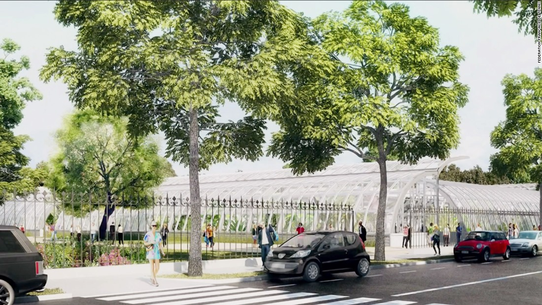 The 5,000 seater semi-sunken court will replace the existing court one and be positioned in the neighboring Jardin des Serres d'Auteuil botanical garden.