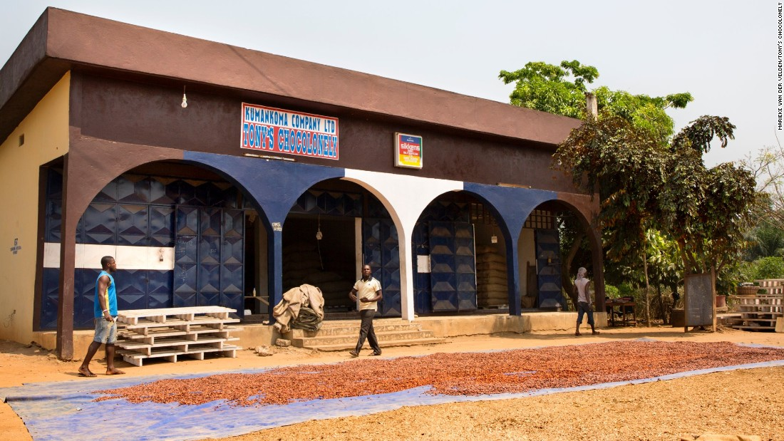 Tony's cocoa comes from Ghana and Ivory Coast, sourced from a number of cooperatives. Pictured, a Tony's Chocolonely warehouse in Ghana.