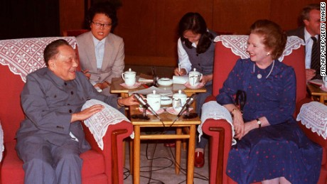 Thatcher and Chinese paramount leader Deng Xiaoping in Beijing's Great Hall of the People in September 1982.