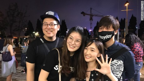 Crystal Wu and her friends who traveled from China for the Hong Kong show on May 22.