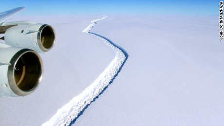 The rift in the Larsen C Ice Shelf, in the northern most part of Antarctica, photographed on November 10, 2016 from a NASA research plane.
