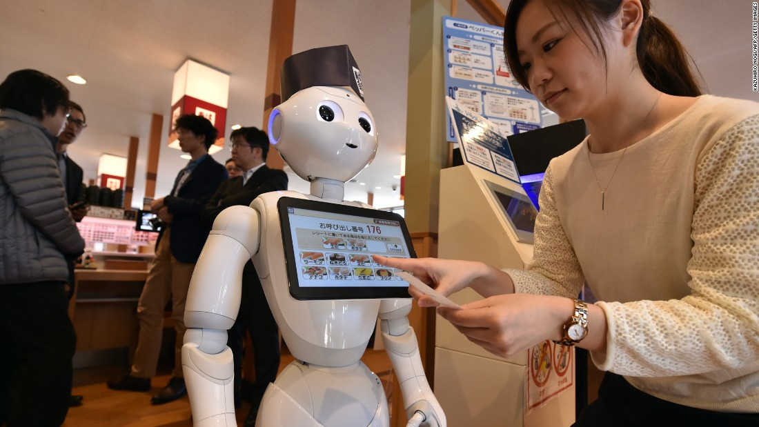 """Pepper"" has also been used in Hamazushi, a sushi restaurant chain in Japan. It demonstrated that the robots can handle services like receiving and helping customers to their tables."