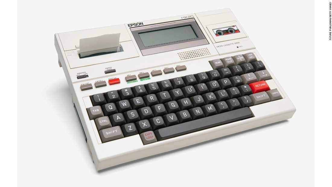 The Epson HX-20 laptop was the world's first hand-held computer. Launched in 1982, it features a full size keyboard, LCD screen, printer and built-in rechargeable batteries.