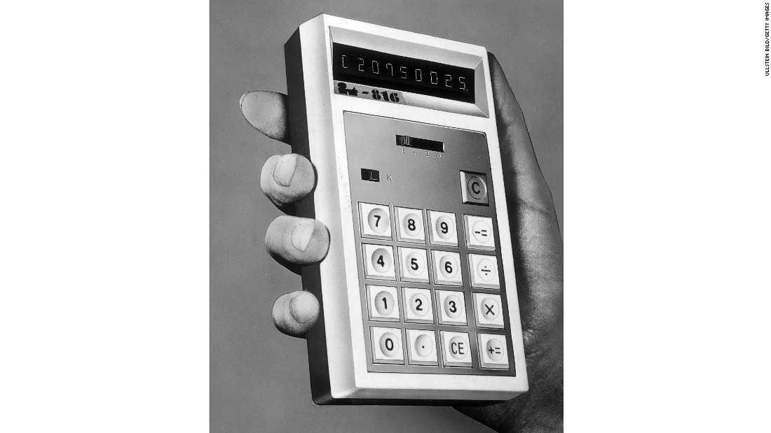 "The rather chunky Canon ""Pocketronic"" was the first hand-held, battery-powered printing electronic calculator. Introduced in 1970 it could easily be transported, as opposed to the desktop calculators previously used."