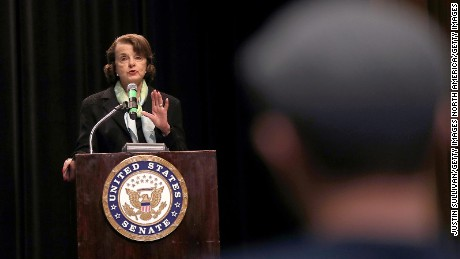 Sen. Dianne Feinstein speaks during a town hall style meeting at the San Francisco Scottish Rite Masonic Center on April 17, 2017, in San Francisco.