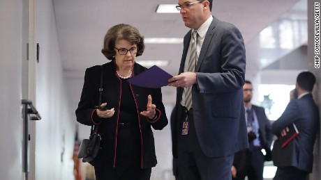 Senate Select Committee on Intelligence member Sen. Dianne Feinstein arrives for a closed-door meeting on Capitol Hill on April 25, 2017.
