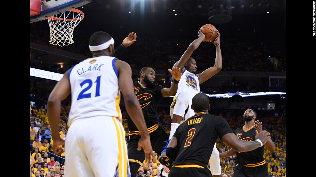 Durant rebounds the ball during Game 2, which Golden State won 132-113 on Sunday, June 4. Durant had a game-high 33 points to go with 13 rebounds, six assists and five blocks.
