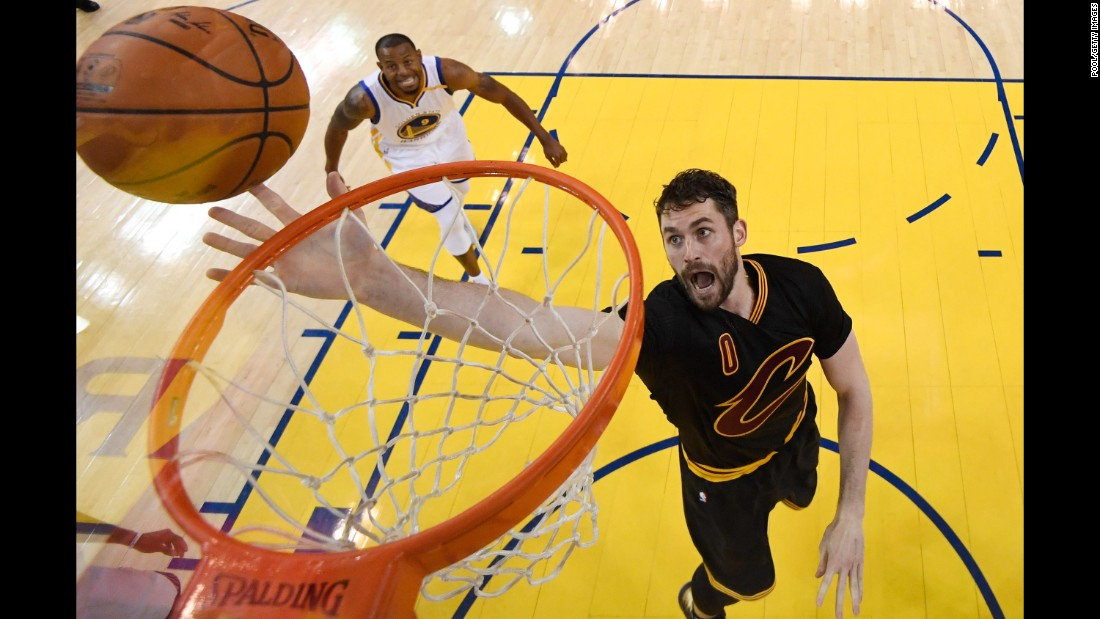 Cleveland's Kevin Love goes up for a shot in Game 2. He scored 27 points.