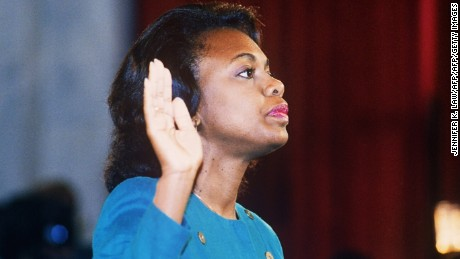 US law professor Anita Hill takes oath, 12 October 1991, before the Senate Judiciary Committee in Washington D.C.. Hill filed sexual harassment charges against US Supreme Court nominee Clarence Thomas.