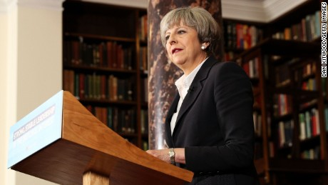 British Prime Minister Theresa May speaking on June 5 in London.