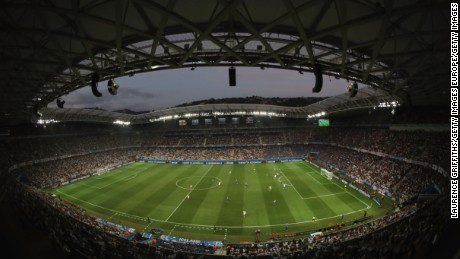 Nice's Allianz Riviera stadium, seen here in use at Euro 2016 for England vs. Iceland.