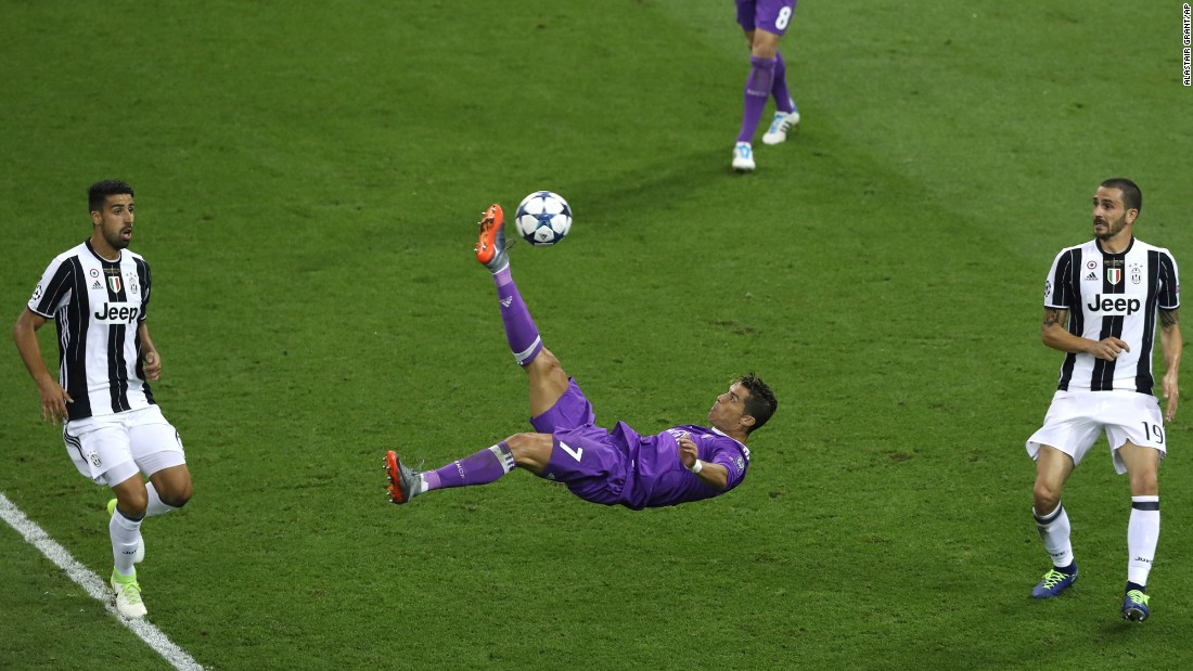 "Real Madrid star Cristiano Ronaldo performs an overhead kick during the Champions League final against Juventus on Saturday, June 3. <a href=""http://www.cnn.com/2017/06/03/football/real-madrid-juventus-champions-league-final-ronaldo-mandzukic/index.html"" target=""_blank"">Ronaldo scored two goals</a> as Madrid won 4-1, defending the title it won last year."