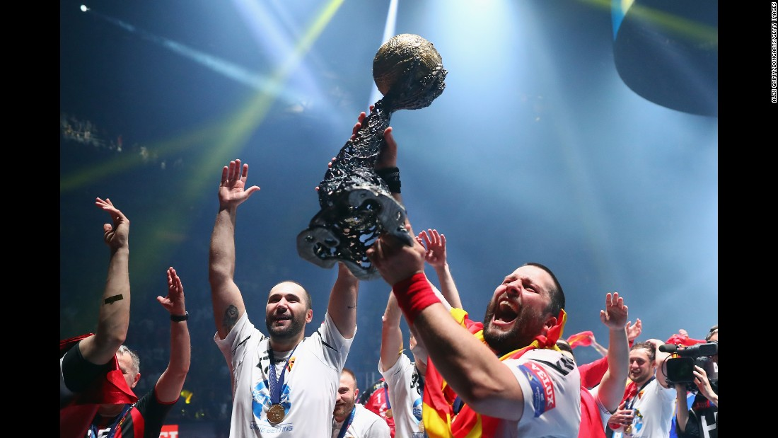 Players from Vardar, a Macedonian handball club, celebrate after winning the Champions League final in Cologne, Germany, on Sunday, June 4. Vardar defeated Paris Saint-Germain 24-23.