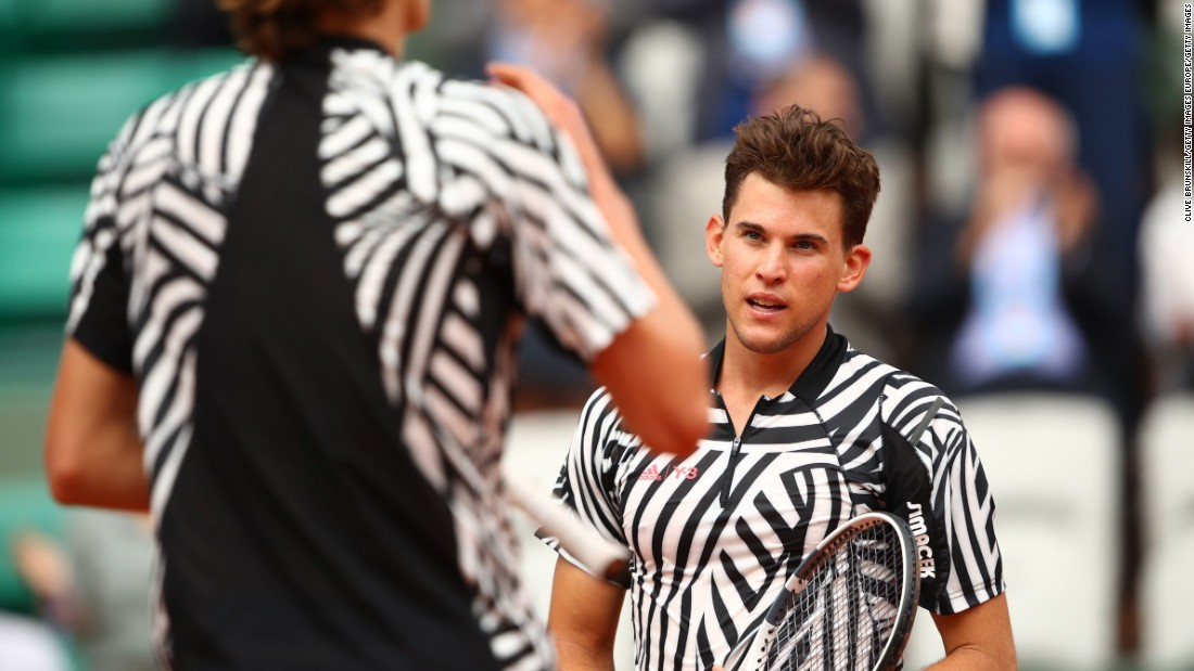 "At Roland Garros last year, Dominic Thiem and Alexander Zverev wore matching Adidas Zebra-inspired outfits. ""I actually really liked the zebra prints, I know some people hated it but I actually really liked that stuff,"" sid Bethanie Mattek-Sands."