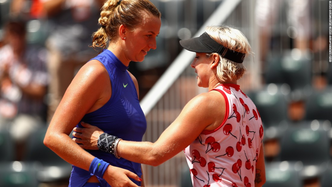The US player -- ranked doubles world No. 1 -- knocked out the returning Petra Kvitova at this year's French Open wearing a cherry-covered top.