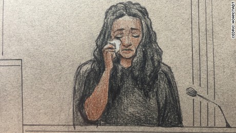 A courtroom sketch of Diamond Reynolds on the stand Tuesday.