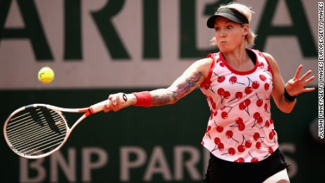 Bethanie Mattek-Sands is pictured playing against Sam Stosur.