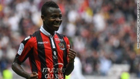 Nice's Ivorian midfielder Jean Michael Seri celebrates after scoring against AS Nancy Lorraine.