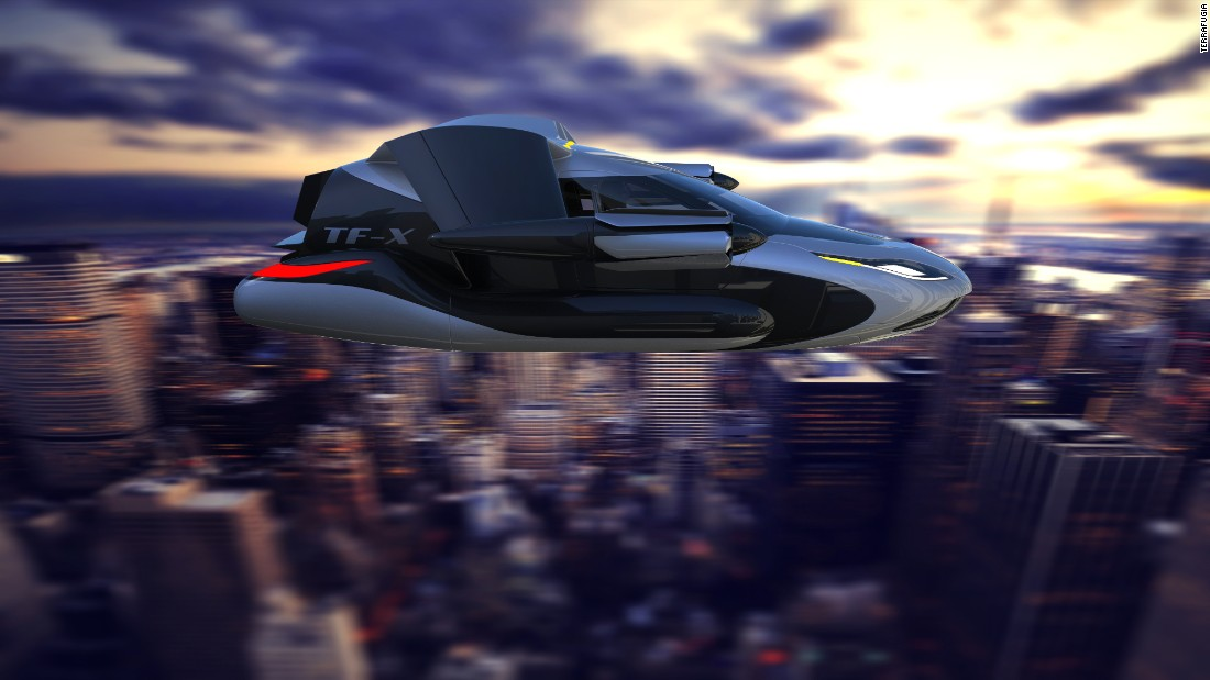 Terrafugia's other concept, the TF-X, is a flying car that will be capable of vertical takeoff and landing. The design was revealed in 2013 and a delivery date hasn't currently been set.