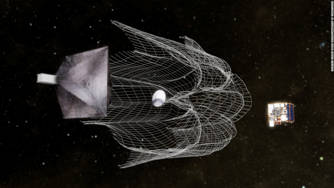 The RemoveDEBRIS team from Surrey Space Centre has designed a system using a net -- much like a fishing net -- to capture debris. The debris would then be dragged behind the space craft as it returns to Earth.