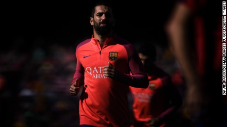 BARCELONA, SPAIN - OCTOBER 15:  Ardan Turan of FC Barcelona looks on  during the warm up prior to the La Liga match between FC Barcelona and RC Deportivo La Coruna at Camp Nou stadium on October 15, 2016 in Barcelona, Spain.  (Photo by David Ramos/Getty Images)