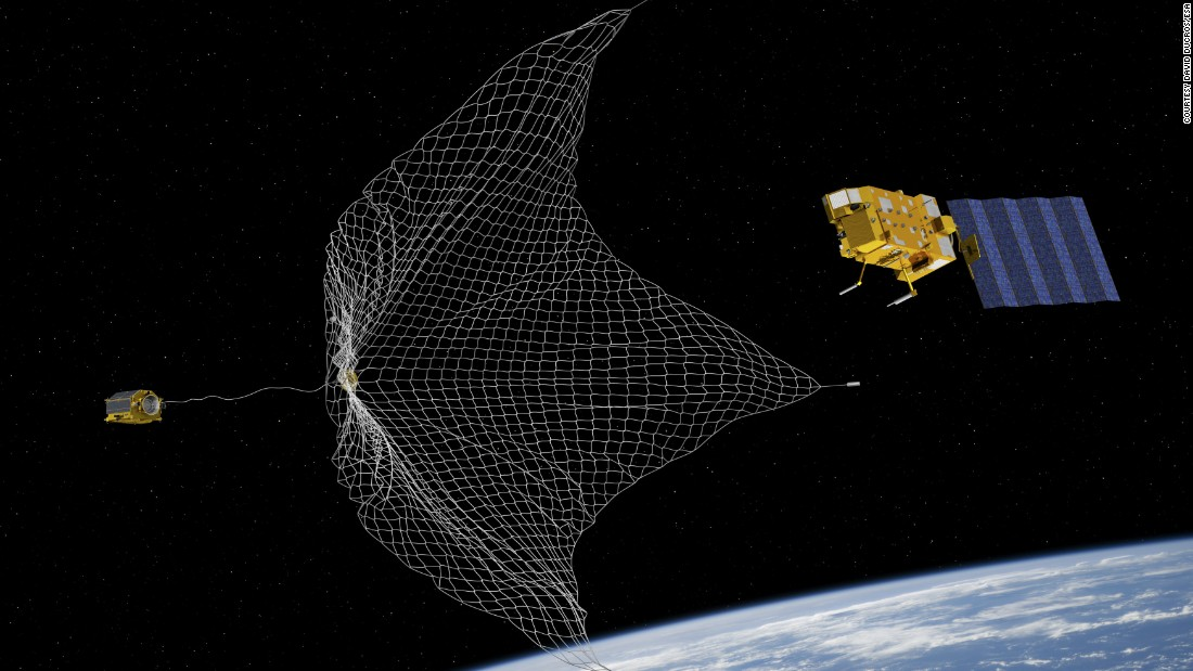 The nets will attempt to capture some of the 7,000 tons of estimated space junk orbiting the planet.