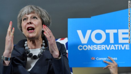 STOKE-ON-TRENT, ENGLAND - JUNE 6: British Prime Minister Theresa May delivers a speech during an election campaign visit to Langton Rugby Club on June 6, 2017. Stoke-on-Trent, England. Britain goes to the polls on June 8 to vote in a general election only days after another terrorist attack on the nation's capital. (Photo by Ben Stansall - WPA Pool/Getty Images)