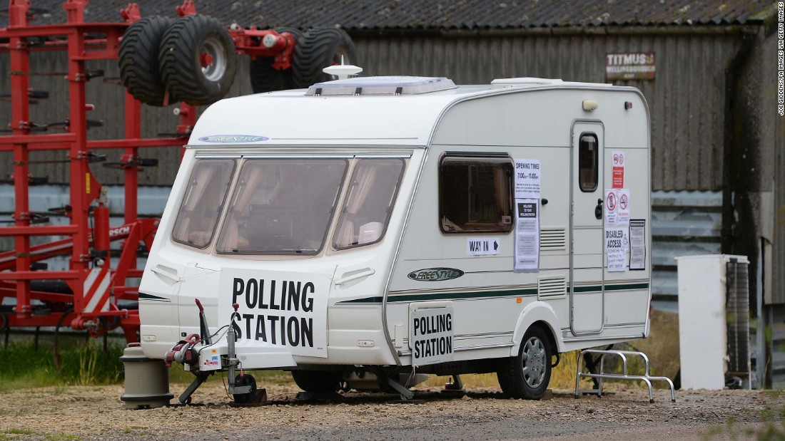 A caravan serves as a polling station in Garthorpe, England.