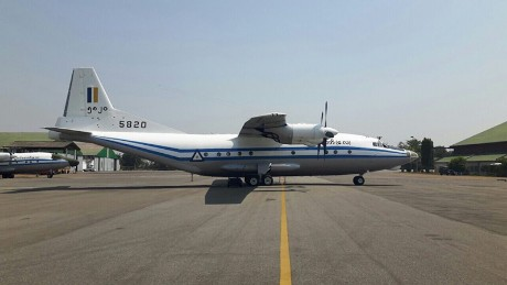 The Myanmar military Shaanxi Y8-200F four-turboprop plane that crashed in the Andaman Sea on June 7, 2017.