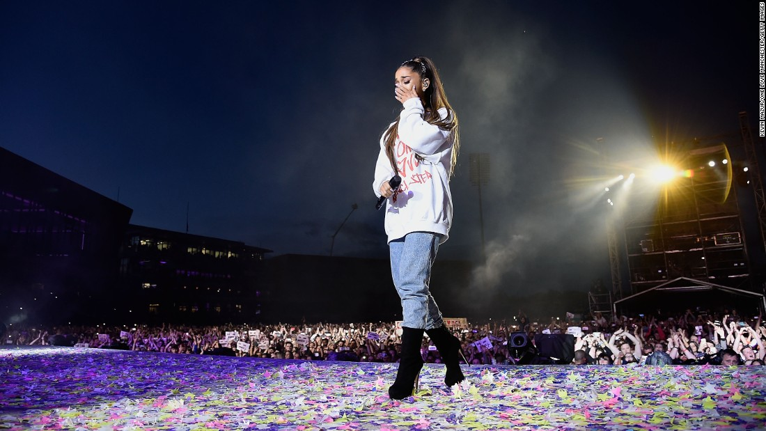 "Ariana Grande wipes a tear as she performs during the <a href=""http://www.cnn.com/2017/06/04/world/grande-benefit-concert/index.html"" target=""_blank"">One Love Manchester Benefit Concert</a> in Manchester, England, on Sunday, June 4. The concert aimed to raise money for those affected by the <a href=""http://www.cnn.com/2017/05/22/europe/manchester-arena-incident/"" target=""_blank"">bombing that killed 22 people</a> and wounded more than 100 at Grande's May 22 show."