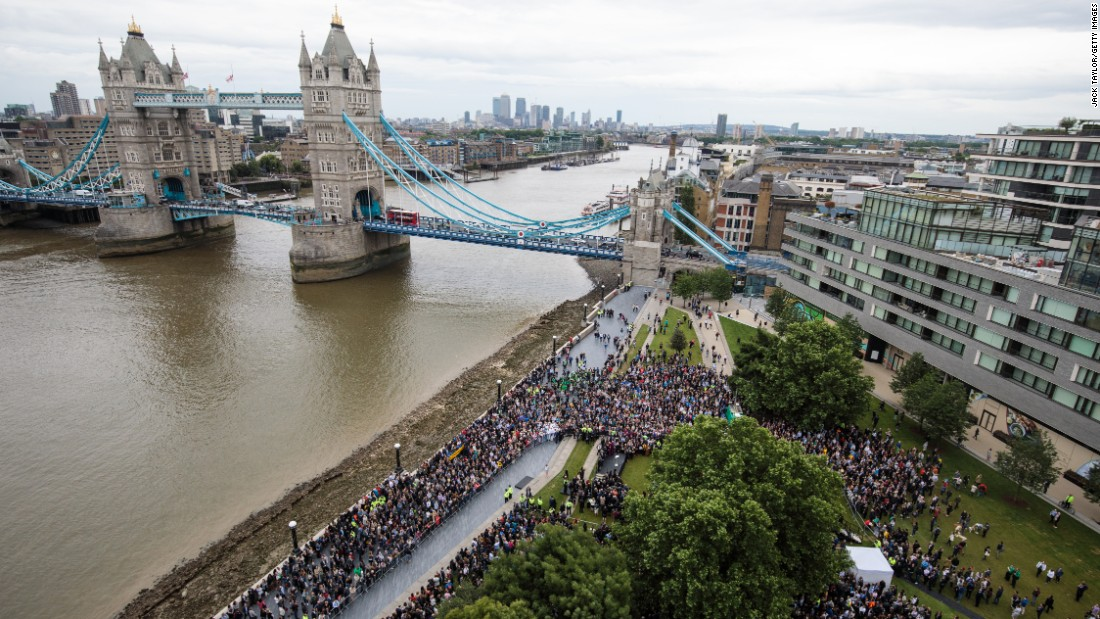 "Hundreds gather for a memorial in London's Potters Field Park on Monday, June 5, for <a href=""http://www.cnn.com/2017/06/05/europe/london-bridge-attack-victims-wounded/index.html"" target=""_blank"">victims</a> of the city's <a href=""http://www.cnn.com/2017/06/04/europe/london-how-the-attack-unfolded/index.html"" target=""_blank"">June 3 terror attacks</a>."