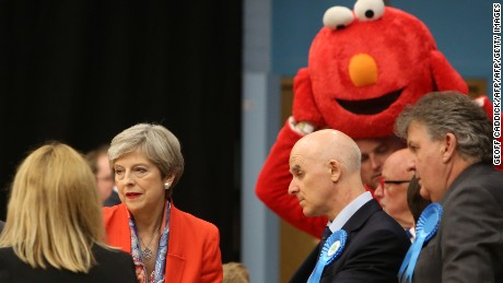 May stands alongside the Give Me Back Elmo candidate in Maidenhead.
