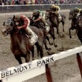 Colonial Affair, ridden by jockey Julie Krone, crosses the finish line to win the Belmont Stakes