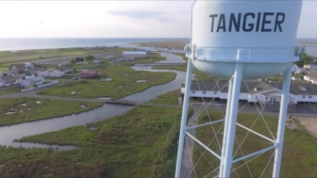 An aerial view of Tangier Island
