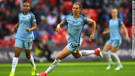 LONDON, ENGLAND - MAY 13: Carli Lloyd of Manchester City in action during the SSE Women's FA Cup Final between Birmingham City Ladies and Manchester City Women at Wembley Stadium on May 13, 2017 in London, England.