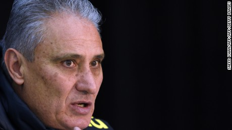 Brazil's head coach Tite speaks at a press conference following a training session in Melbourne on June 8, 2017, ahead of their football match against Argentina on June 9. / AFP PHOTO / SAEED KHAN / -- IMAGE RESTRICTED TO EDITORIAL USE - STRICTLY NO COMMERCIAL USE --        (Photo credit should read SAEED KHAN/AFP/Getty Images)
