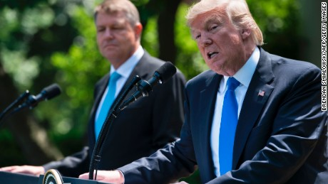US President Donald Trump and Romania's President Klaus Iohannis give a press conference in the Rose Garden of the White House on June 9, 2017 in Washington, DC. (BRENDAN SMIALOWSKI/AFP/Getty Images)