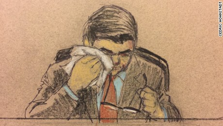 Jeronimo Yanez wiped his eyes while testifying.