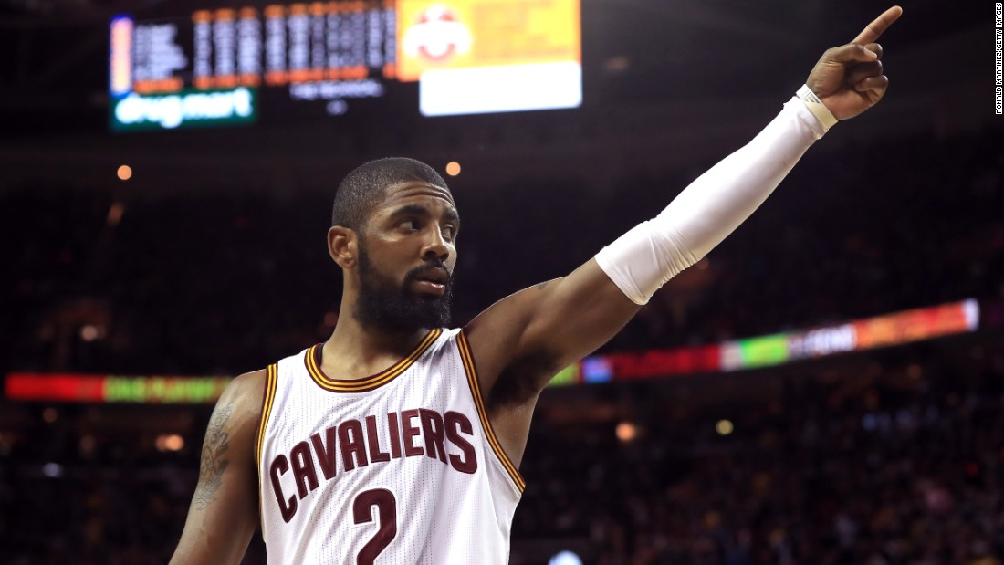 Cleveland's Kyrie Irving gestures to the home crowd during Game 4 of the NBA Finals on Friday, June 9. Irving had a game-high 40 points, including seven 3-pointers, as the Cavaliers won 137-116. It was Cleveland's only win in the seven-game series.